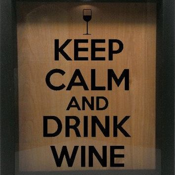 "Wooden Shadow Box Wine Cork/Bottle Cap Holder 9""x11"" - Keep Calm and Drink Wine with Glass"