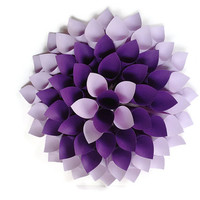 Purple Dahlia Wreath, Lavender Paper Wall Decor, Shabby Chic Wreath