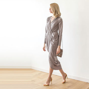 4bbc5fd58949 Taupe maxi wrap dress with long sleeves