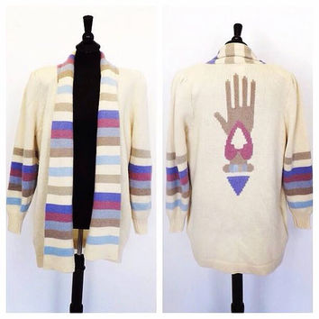 Vintage 1970s 80s Bob Mackie Wool Cardigan Sweater Southwestern Aztec Tribal Hand Print Size Medium Fall Knit Wool Cardigan Socal Boho