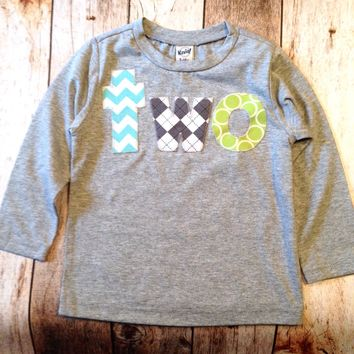 Two for 2nd Birthday shirt boys 2 year old aqua chevron grey argyle lime green circle long sleeve heather grey second birthday