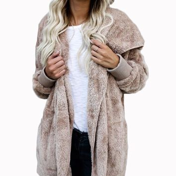 Women's Mocha Long Fuzzy Cardigan Jacket