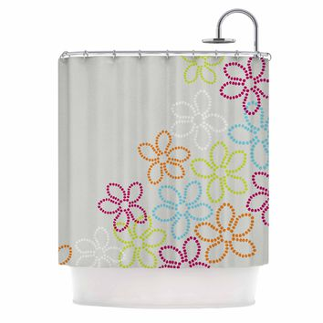 "Julia Grifol ""Dancing Flowers"" Gray Orange Vector Shower Curtain"