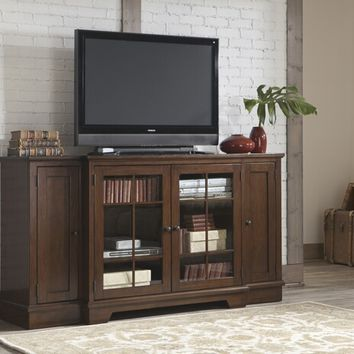 Hodgenville collection casual style rustic brown finish wood tv stand