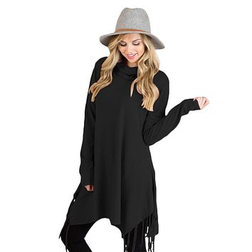 Chicloth Black Cowl Neck Fringe Tunic