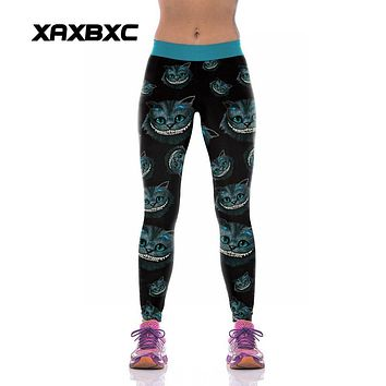 XAXBXC 1004 Fashion Alice in Wonderland Cute Cheshire cat Prints High Waist Silm Fitness Women Leggings Sexy Girl Pencil Pants