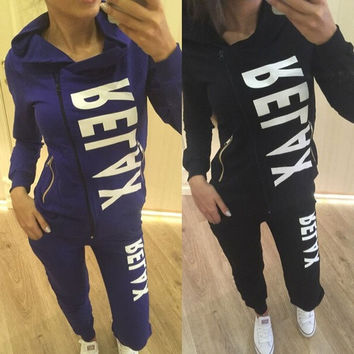 Women 2Pcs Hoodies Sweatshirt Pants Sets Casual Tracksuit Jogging Gym Sport Suit = 5617058369