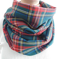 Red Green Plaid Infinity Scarf, Tartan Plaid, Winter Scarf, Womens Scarf, Mens Scarf, Oversized Scarf, Extra Long, Extra Wide Scarf