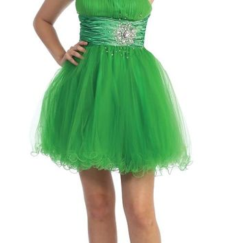 CLEARANCE - Short Green Homecoming Dress Tulle Skirt Strapless Empire Rhinestones (Size 2XL)