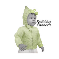 Toddler Moss Stitch Sweater with Hood Knitting Pattern Size 1, 2, 3, 4 || Vintage 1950's || Reproduction PDF Instant Download 5938-68