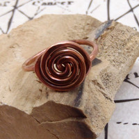 Hammered Copper Spiral Ring Custom ALL SIZES  Fall Jewelry Autumn Rings Copper Jewelry Natural Jewelry FREE Shipping