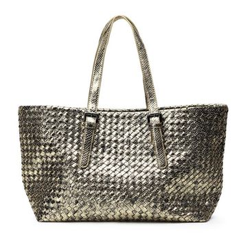 New Shinning Gold Woven Leather Handbag Cross Stitch Hobo Women's Serpentine Knitting Bag Large Casual Tote