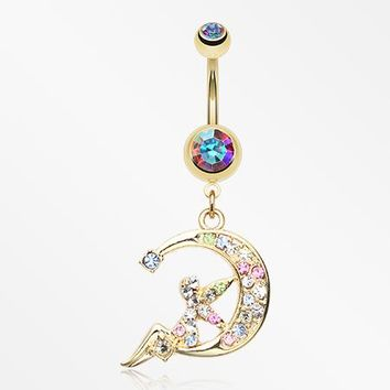 Golden Crescent Moon Fairy Belly Button Ring