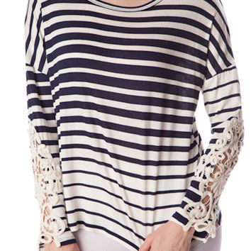 Mariner Crochet Striped Top