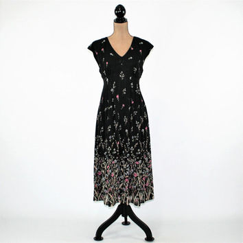 90s Black Floral Dress Romantic Boho Dress Chiffon Empire Waist Dress High Waist Boho Clothing Size 10 Vintage Clothing Womens Clothing