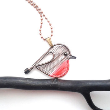 Robin Necklace, Wire Weaved Bird Pendant, Animal Christmas Necklace, Wire Wrapped Jewelry, Wire Wrap Jewellery, Unique Wire Necklace