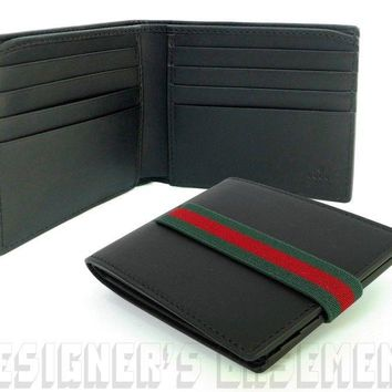 GUCCI Mens smooth black leather Elastic WEB Band bifold wallet NIB Authentc $425