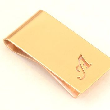 Bronze Money Clip Personalized with Hand cut Calligraphy inspired Initial – Parallel to Length Orientation