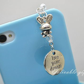 Alice in wonderland iPhone 5 4S 4 charm,3.5mm dust proof plug with dreaming rabbit and note charms,fit for samsung Blackberry HTC PSAW01