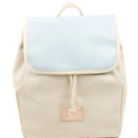 Sky Blue Globe Leather Backpack, Canvas and Artisan Dyed Leather Backpack, Mediterranean Inspired, Women's Backpack