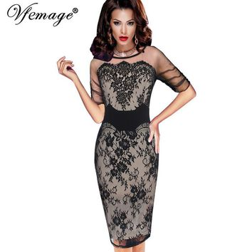 Vfemage Women Elegant Sexy Floral Lace See Through Mesh Slim Tunic Evening Party Club Special Occasion Fitted Bodycon Dress 4286