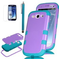S3 Case, Galaxy S3 Case - ULAK 3in1 Hybrid Best Impact Shockproof Rugged Rubber Combo Hard Case for Galaxy S3 Shock-Absorption / Impact Resistant Slim 3 Layer [Rigid Plastic + Soft Silicone] Case Cover for Samsung Galaxy S3 S III i9300 (Purple PC+Blue Sili