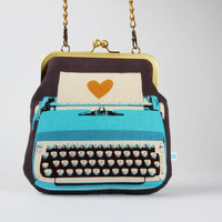 Clutch bag - Typewriter in blue - metal frame purse with shoulder strap