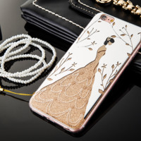 For Apple iphone 6s Electroplated mirror case Wedding dress Hang rope cases -0410