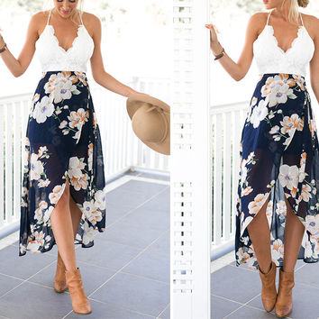 Long Lace Floral Dress