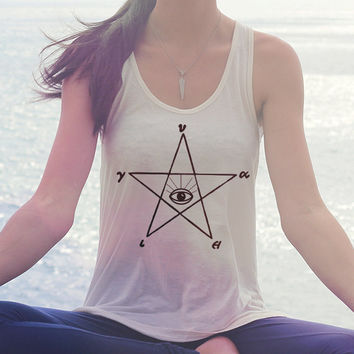 Pentagram Third Eye Tank Top  // Boho Bohemian Clothing - Boho Top // Hippie Clothing - Gypsy Clothing - Festival Clothing // Tribal Tank
