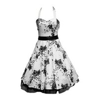 50's White & Black Floral Dress