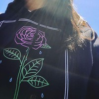 Crying Rose Hooded Sweatshirt Black
