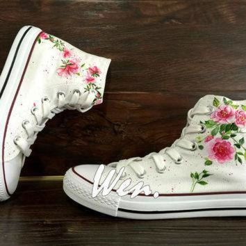 DCCK8NT wen original design floral converse wedding flowers shoes hand painted shoes custom co