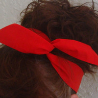 Dolly Bow, Red  Wire Headbands Pick Your Solid Color School Spirit Bows