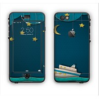 The Layered Paper Night Ship with Gold Stars Apple iPhone 6 Plus LifeProof Nuud Case Skin Set