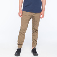 Crash Mens Chino Jogger Pants Dark Khaki  In Sizes