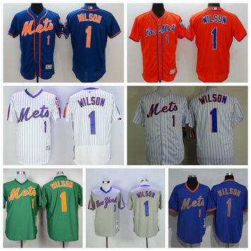 New York Mets Throwback 1 Mookie Wilson Jersey Cooperstown Flexbase Pullover Mookie Wilson Retro Baseball Jerseys Green Blue Grey White