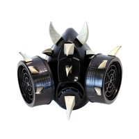 Silver Devil Horns & Claws Gas Mask Respirator Cyber Goth Cosplay