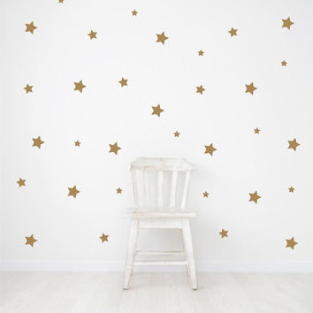 Gold Wall Decals - Star wall decals - nursery wall decals - metallic glitter - confetti stars - removable decals