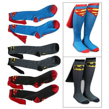 Unisex Super Hero Superman Batman Knee High With Cape Soccer Cosplay Socks New [8833663564]