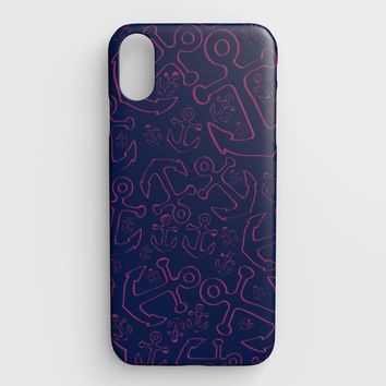 Anchor Dream Cell Phone Case iPhone XS Max - Pink on Navy