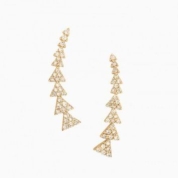 Pavé Triangle Path Ear Climber
