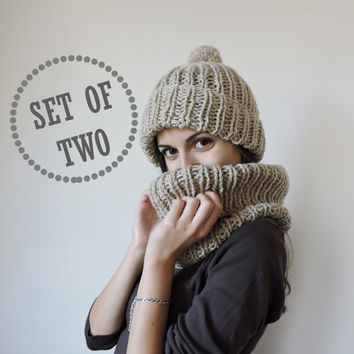 FREE SHIPPING Hat and scarf set Beige knit hat and scarf Soft and warm wool cowl Wool unisex ski hat Unisex winter set Pom pom beanie