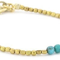 Ettika Tiny Gold Colored Bead Strand Bracelet with 3 Turquoise-Color Beads