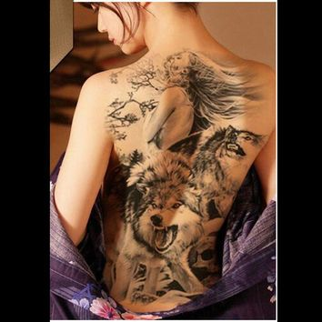 Super big tattoo stickers on full back chest temporary tattoos beauty wolf beast dragon pattern large fake tattoo for female men