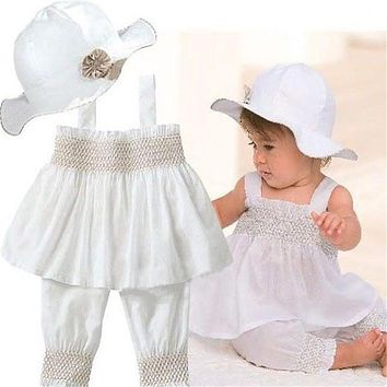 Summer Baby Outfit Toddler Baby Kids Ruffled Girl White Sling Tops+Shorts+Sun Hat 3pcs/set for 0-3 Years