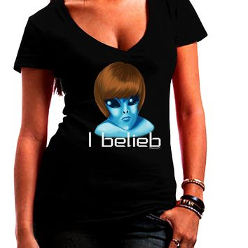 Extraterrestial - I Belieb Juniors V-Neck Dark T-Shirt by TooLoud