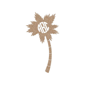 Palm Tree Monogram Cut Out Decal Sticker