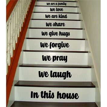 In This House Stairs V6 Quote Wall Decal Sticker Room Art Vinyl Family Happy Home House Staircase Dream Inspirational Love