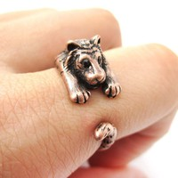 Realistic Tiger Shaped Animal Wrap Around Ring in Copper | US Sizes 4 to 9